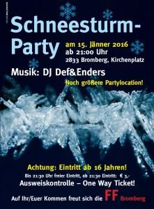 Plakat Schneesturmparty 2016