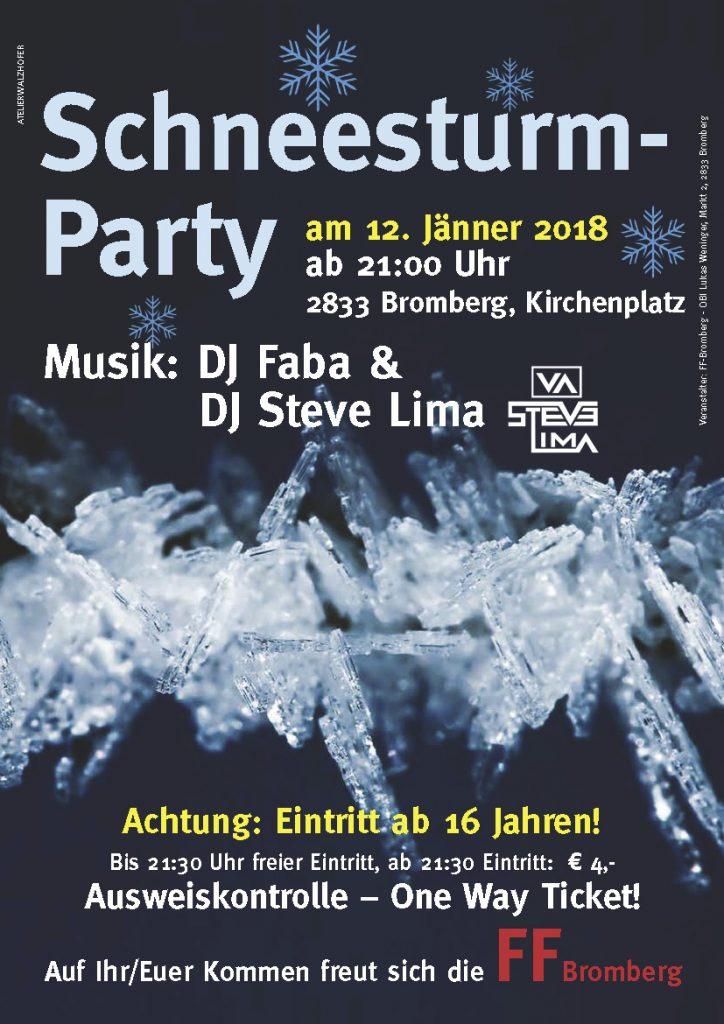 Plakat Schneesturmparty 2018